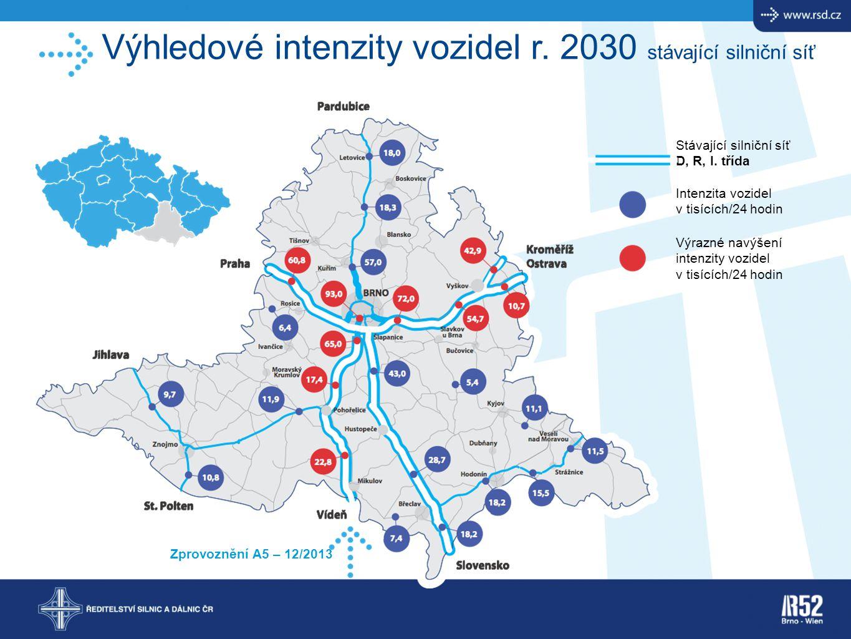 Výhledové intenzity vozidel r. 2030 stávající silniční síť