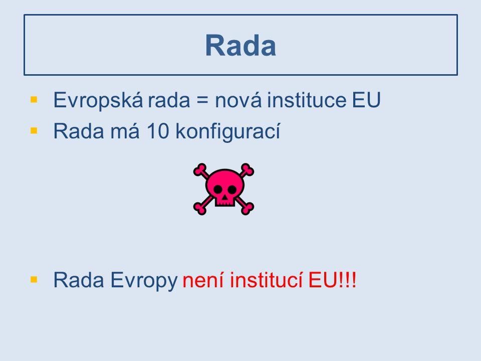 Rada Evropská rada = nová instituce EU Rada má 10 konfigurací