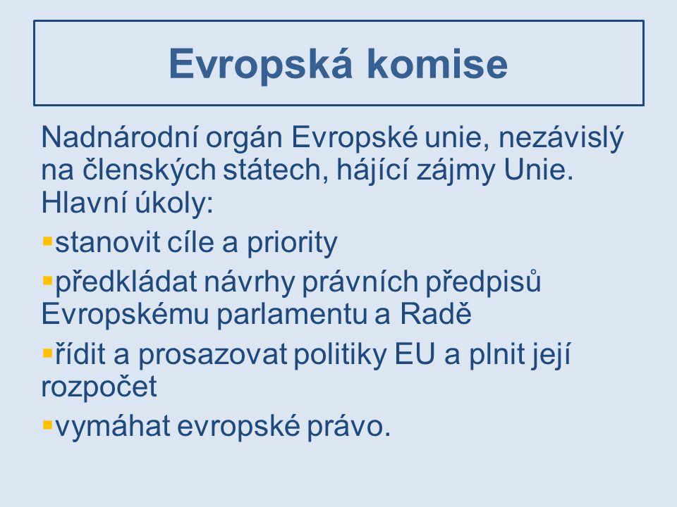 Evropská komise Nadnárodní orgán Evropské unie, nezávislý na členských státech, hájící zájmy Unie. Hlavní úkoly: