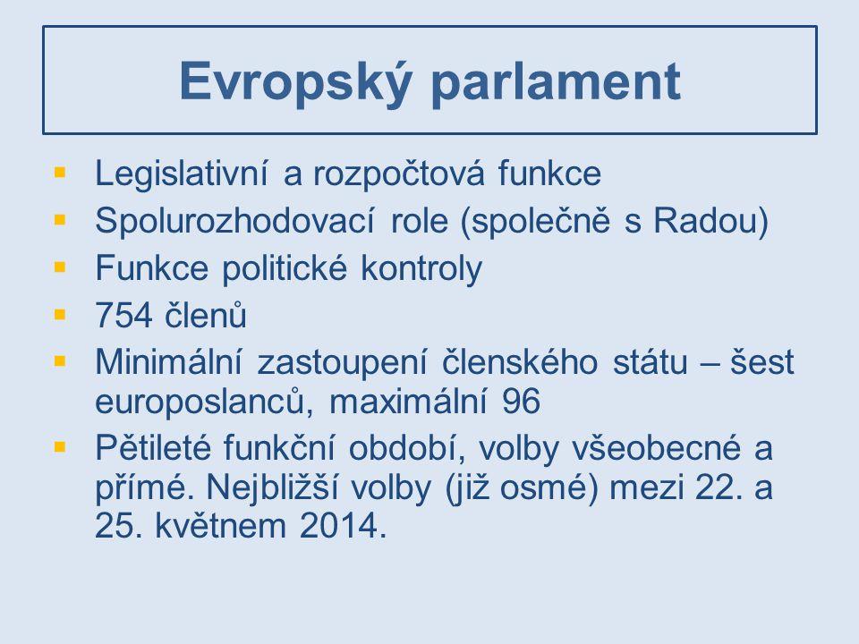 Evropský parlament Legislativní a rozpočtová funkce