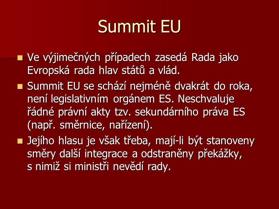 Summit EU Ve výjimečných případech zasedá Rada jako Evropská rada hlav států a vlád.