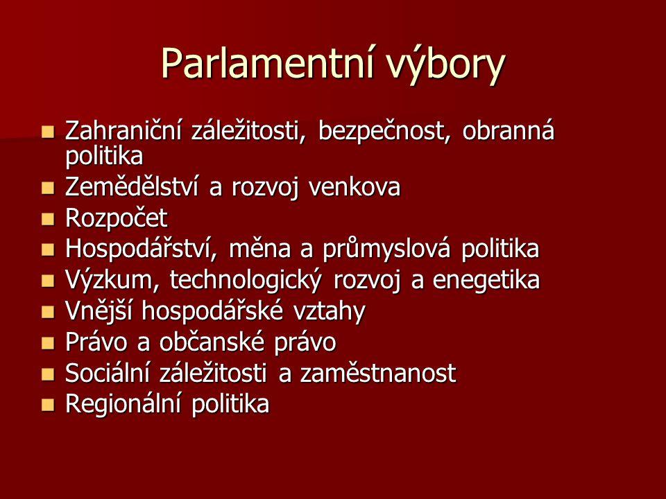 Parlamentní výbory Zahraniční záležitosti, bezpečnost, obranná politika. Zemědělství a rozvoj venkova.
