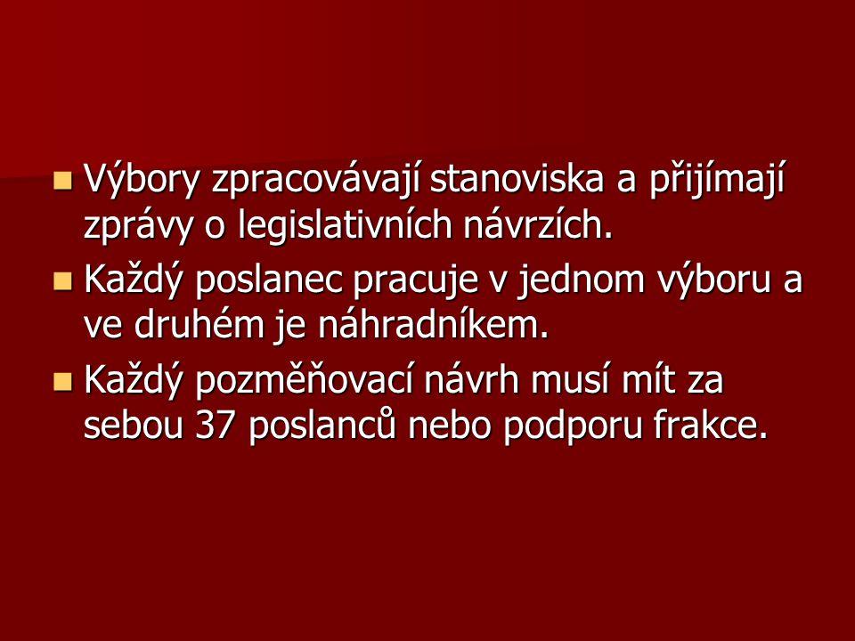 Výbory zpracovávají stanoviska a přijímají zprávy o legislativních návrzích.
