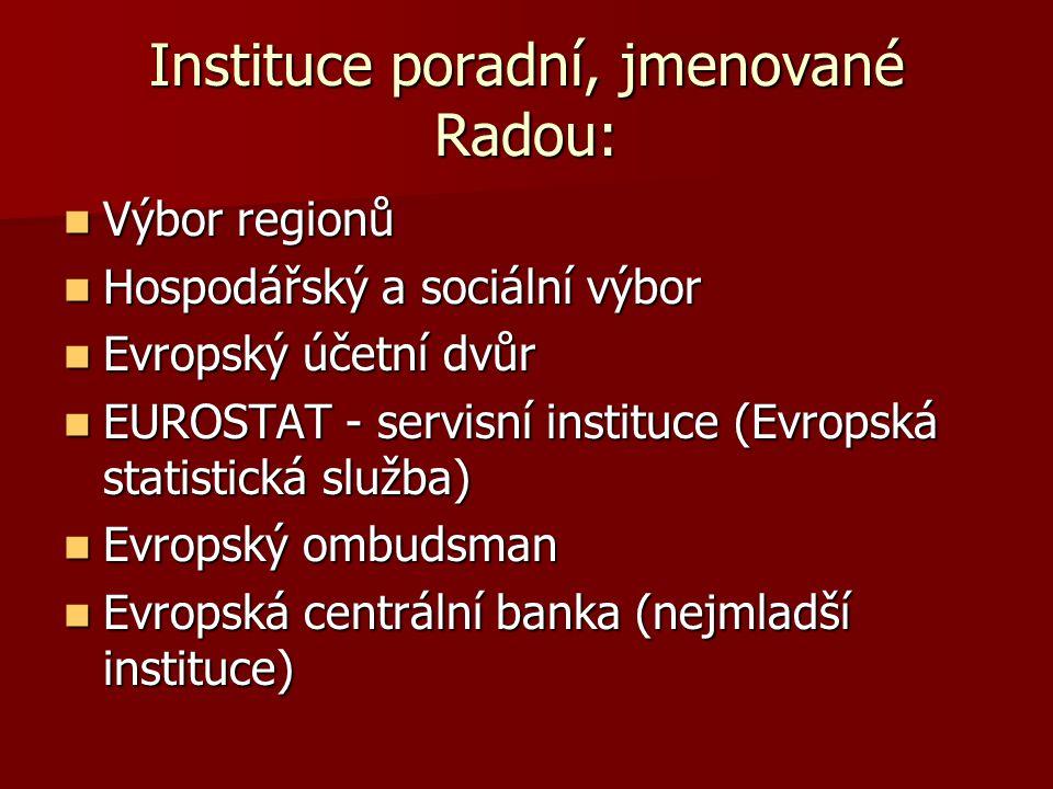 Instituce poradní, jmenované Radou: