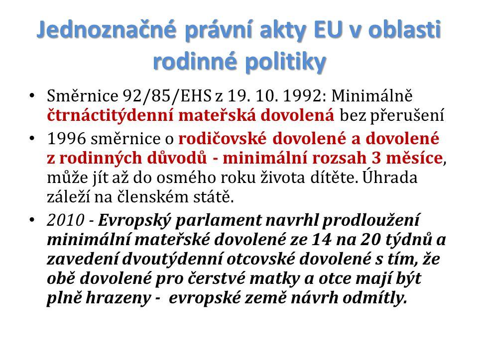 Jednoznačné právní akty EU v oblasti rodinné politiky