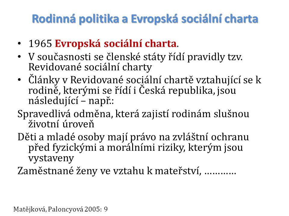 Rodinná politika a Evropská sociální charta