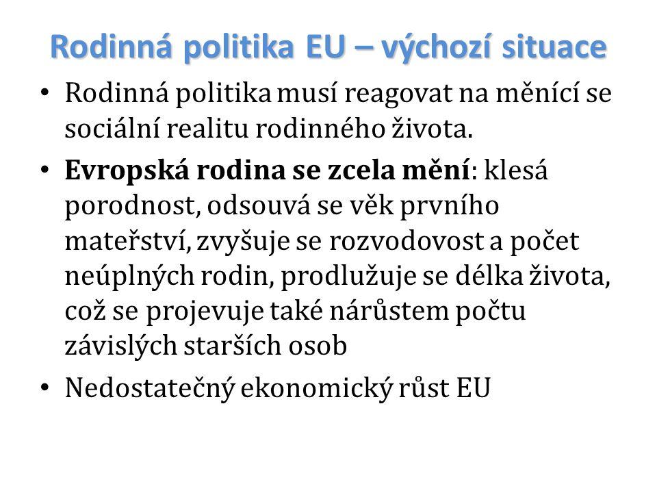 Rodinná politika EU – výchozí situace
