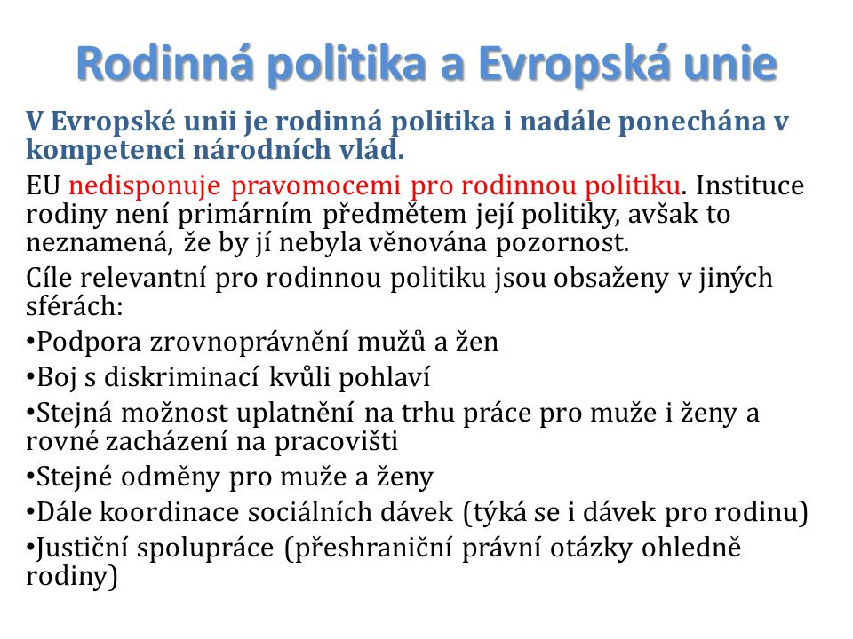 Rodinná politika a Evropská unie