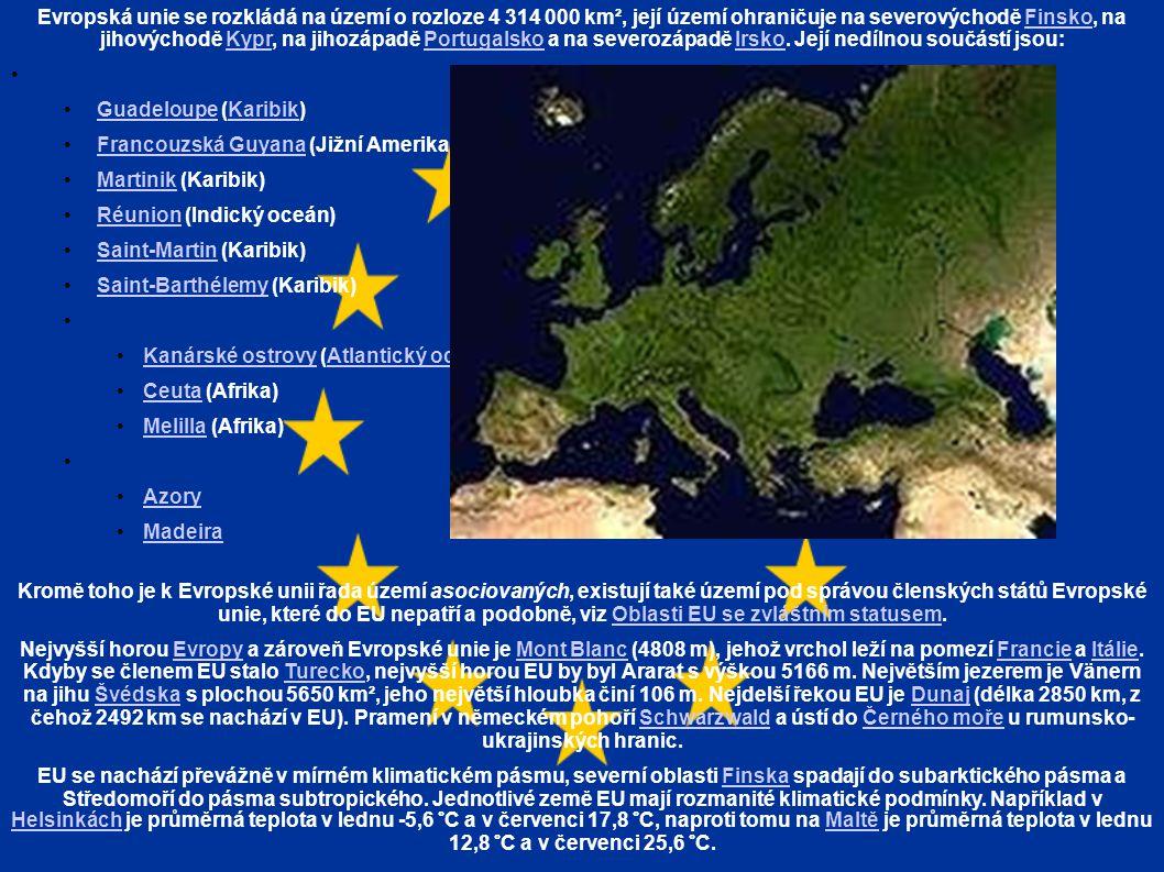 Evropská unie se rozkládá na území o rozloze 4 314 000 km², její území ohraničuje na severovýchodě Finsko, na jihovýchodě Kypr, na jihozápadě Portugalsko a na severozápadě Irsko. Její nedílnou součástí jsou: