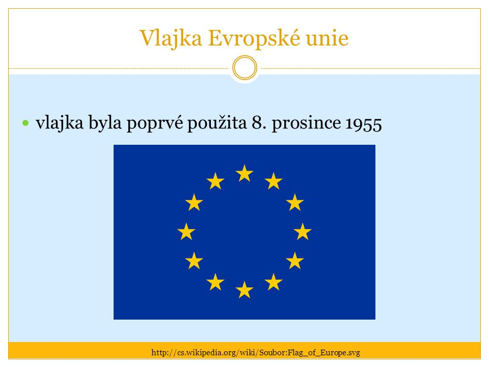 Vlajka Evropské unie vlajka byla poprvé použita 8. prosince 1955