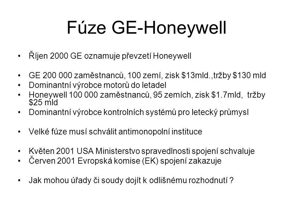Fúze GE-Honeywell Říjen 2000 GE oznamuje převzetí Honeywell