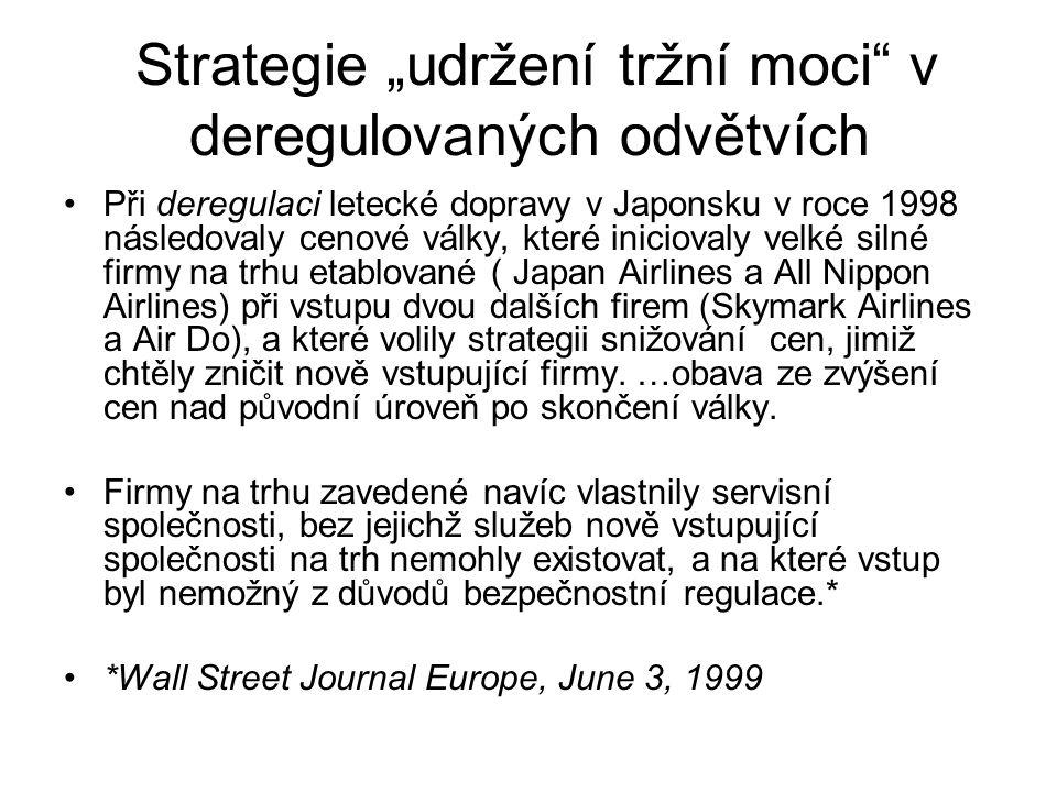 """Strategie """"udržení tržní moci v deregulovaných odvětvích"""