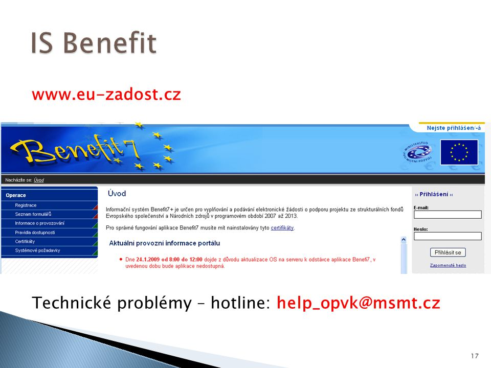 IS Benefit www.eu-zadost.cz