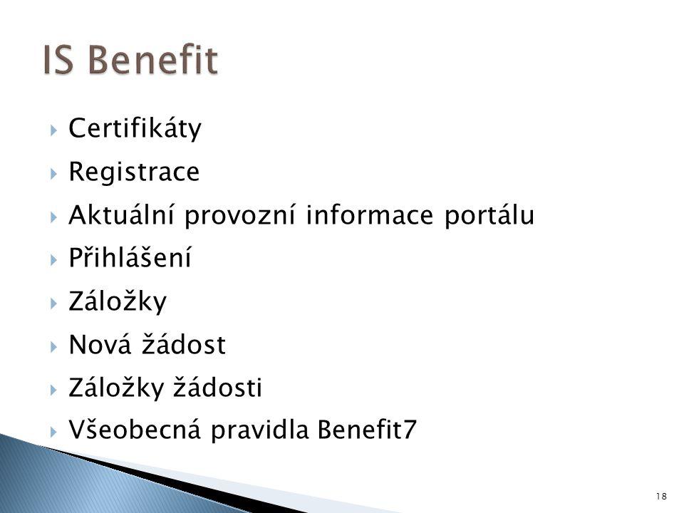 IS Benefit Certifikáty Registrace Aktuální provozní informace portálu