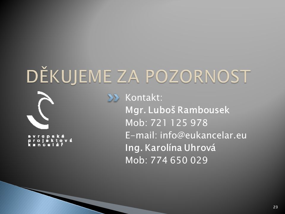 DĚKUJEME ZA POZORNOST Kontakt: Mgr. Luboš Rambousek Mob: 721 125 978