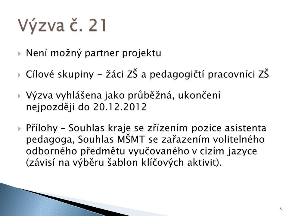 Výzva č. 21 Není možný partner projektu