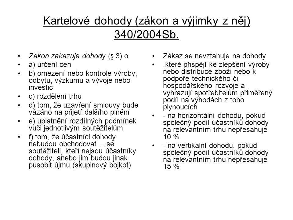 Kartelové dohody (zákon a výjimky z něj) 340/2004Sb.