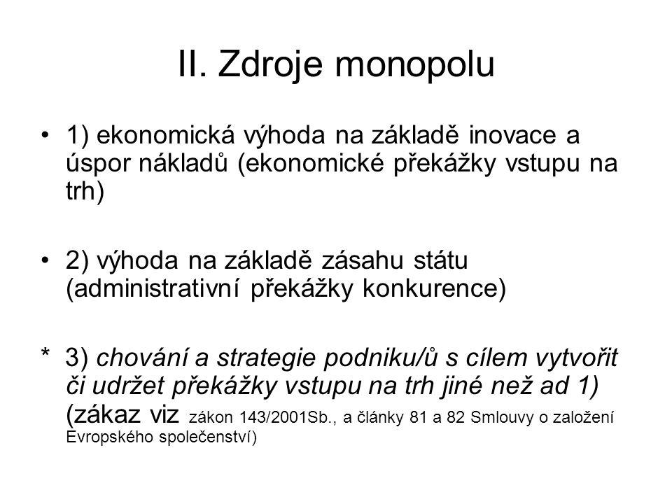 II. Zdroje monopolu 1) ekonomická výhoda na základě inovace a úspor nákladů (ekonomické překážky vstupu na trh)