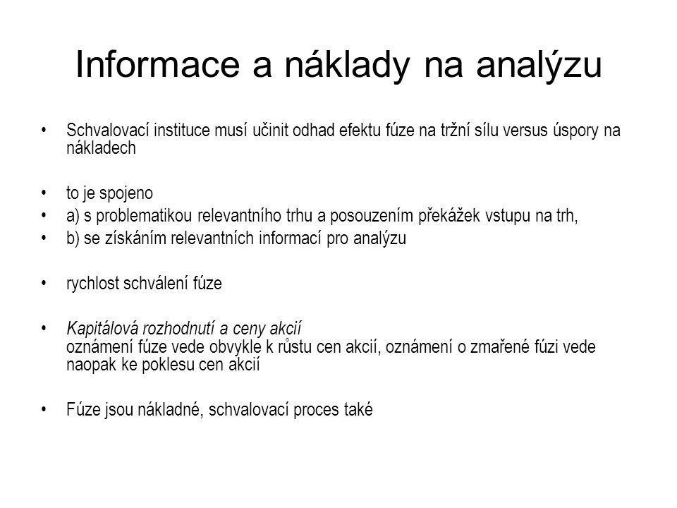 Informace a náklady na analýzu