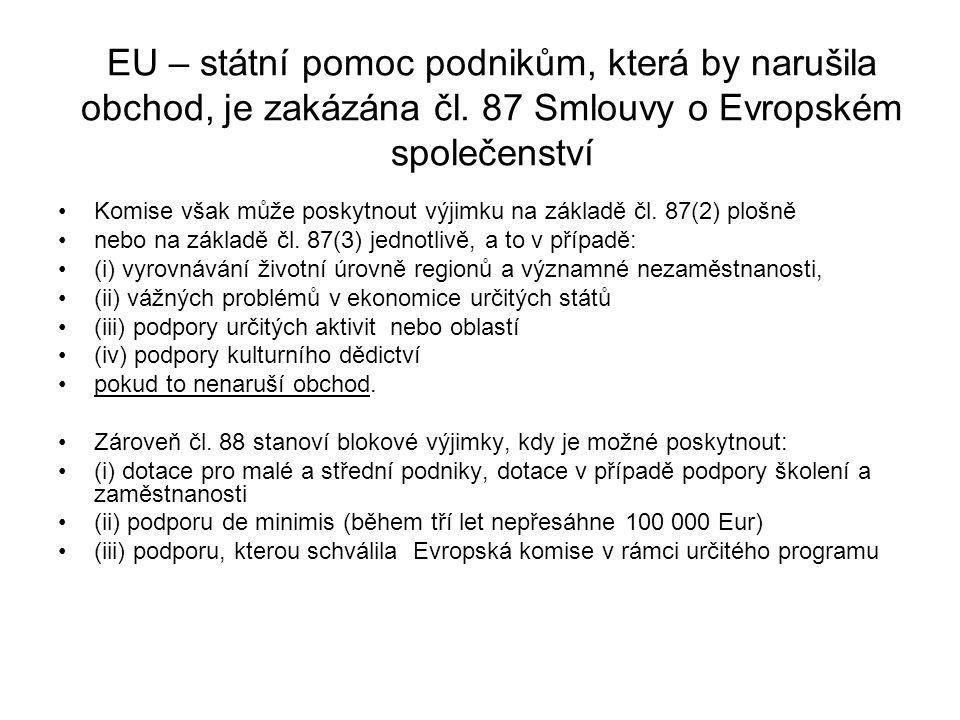 EU – státní pomoc podnikům, která by narušila obchod, je zakázána čl