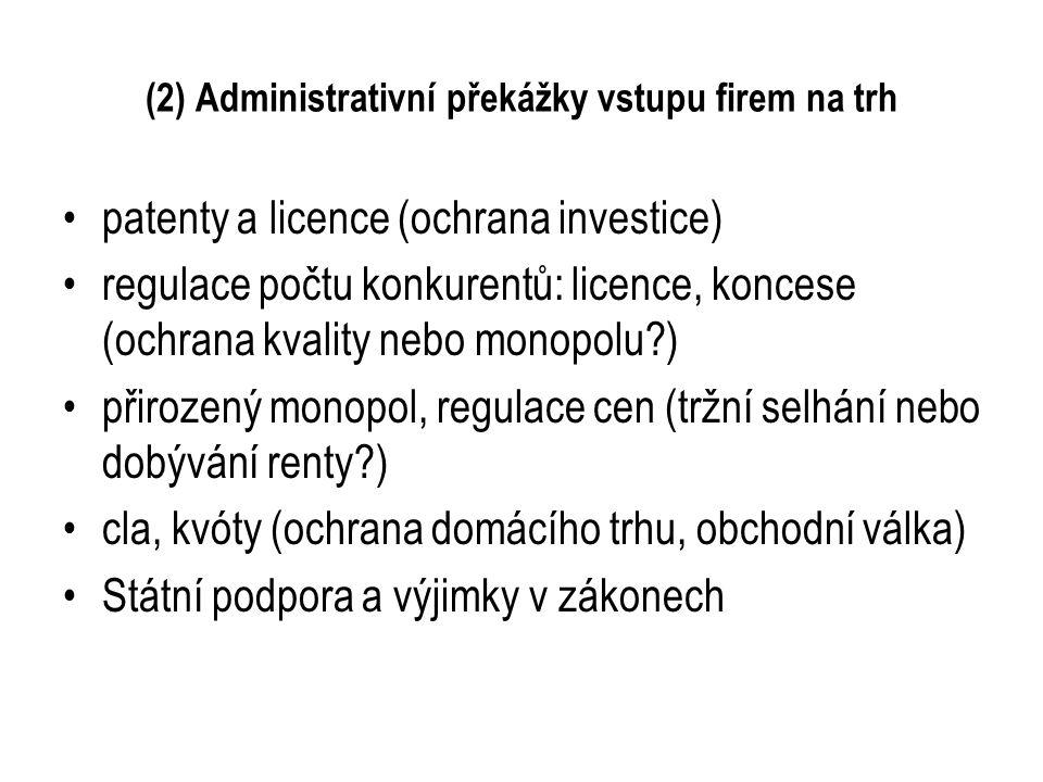 (2) Administrativní překážky vstupu firem na trh