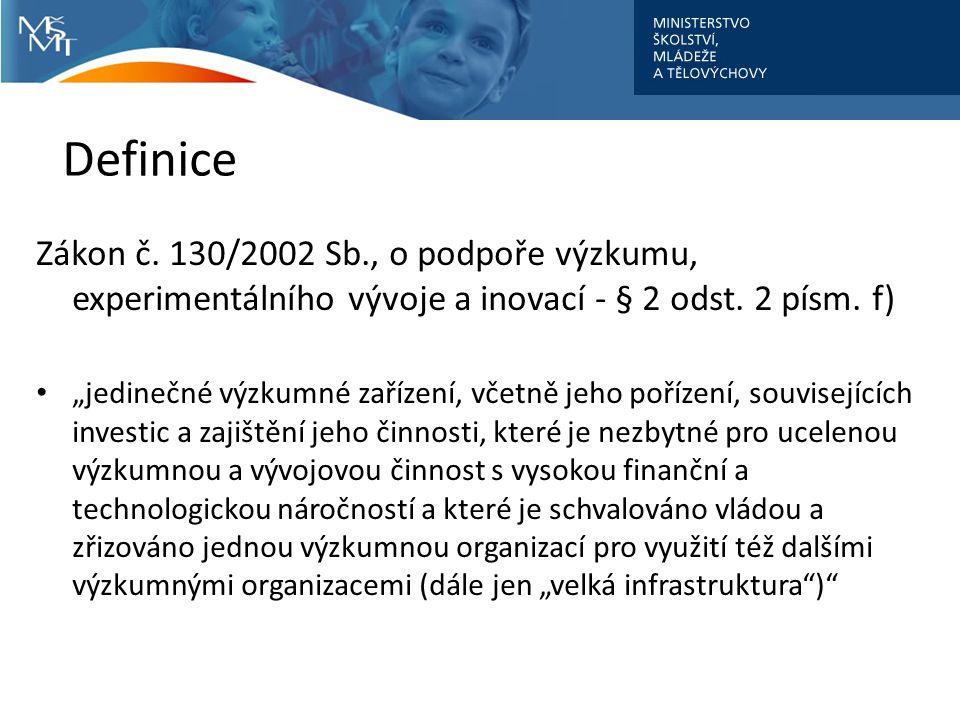 Definice Zákon č. 130/2002 Sb., o podpoře výzkumu, experimentálního vývoje a inovací - § 2 odst. 2 písm. f)