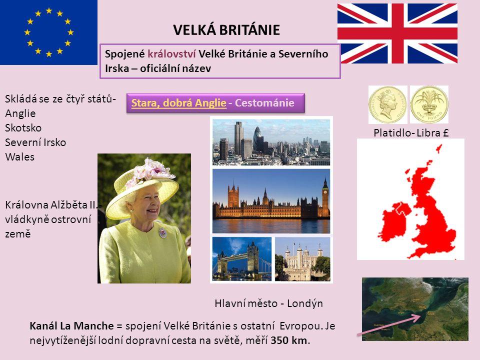 VELKÁ BRITÁNIE Spojené království Velké Británie a Severního Irska – oficiální název. Skládá se ze čtyř států- Anglie.