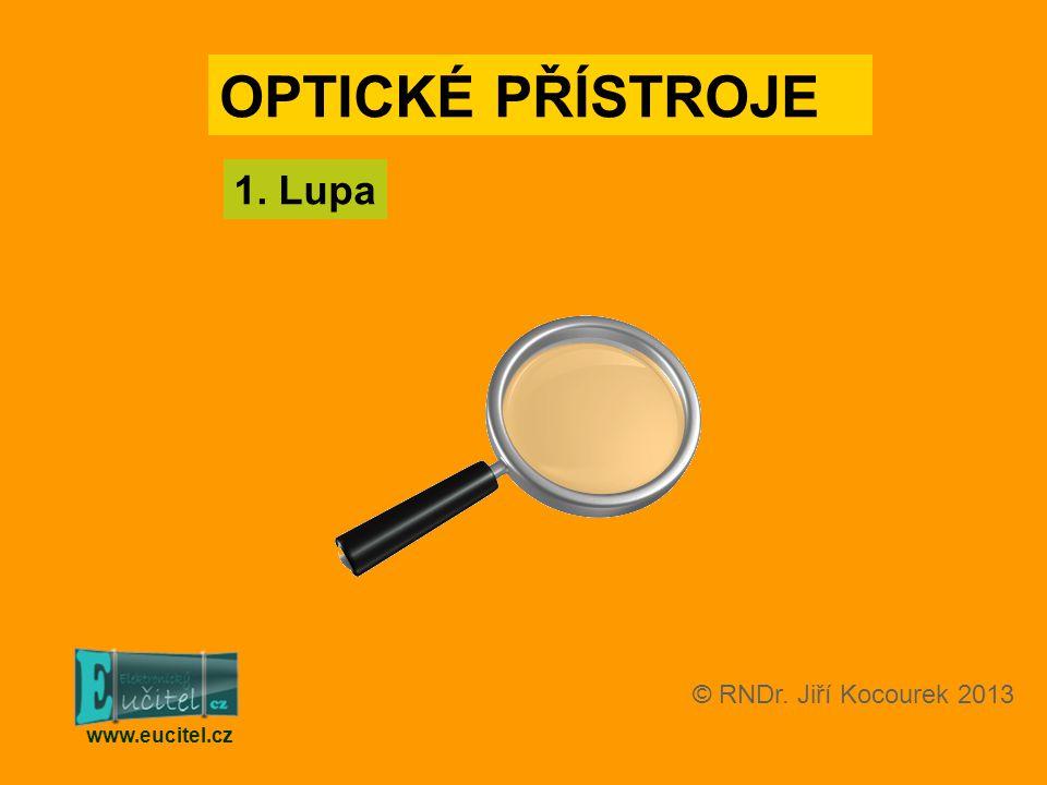 OPTICKÉ PŘÍSTROJE 1. Lupa © RNDr. Jiří Kocourek 2013 www.eucitel.cz