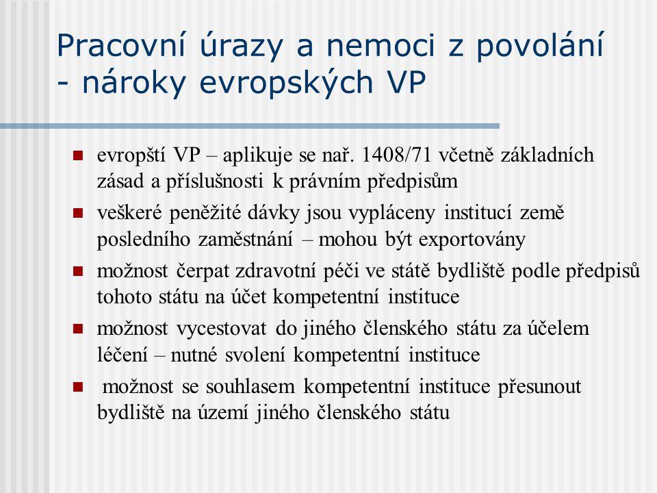 Pracovní úrazy a nemoci z povolání - nároky evropských VP