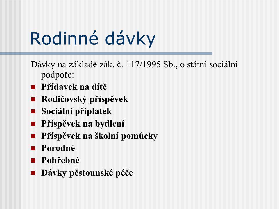 Rodinné dávky Dávky na základě zák. č. 117/1995 Sb., o státní sociální podpoře: Přídavek na dítě. Rodičovský příspěvek.