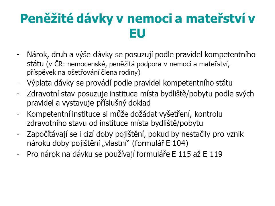 Peněžité dávky v nemoci a mateřství v EU
