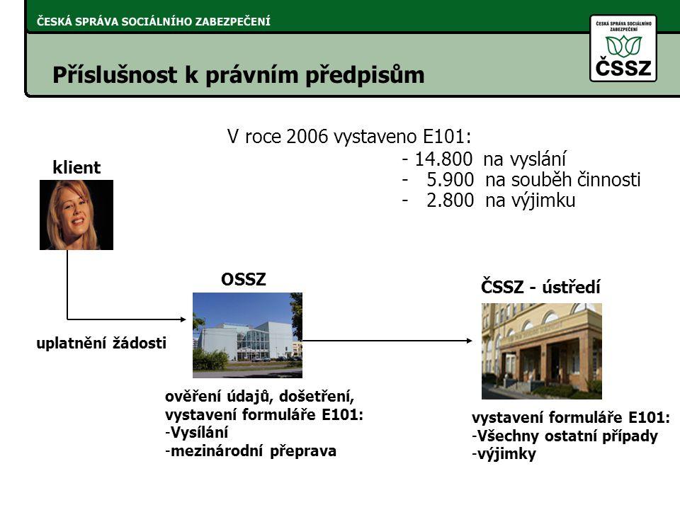 V roce 2006 vystaveno E101: Příslušnost k právním předpisům
