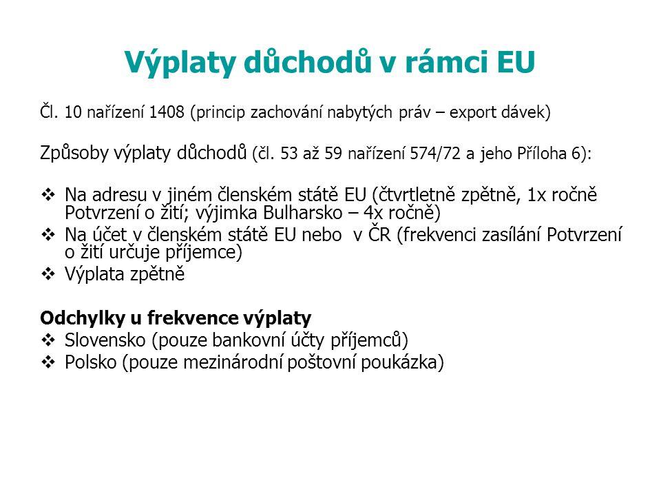 Výplaty důchodů v rámci EU