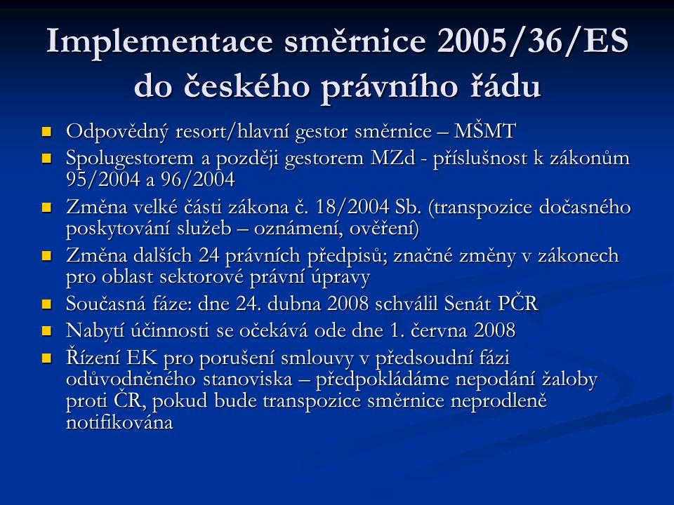 Implementace směrnice 2005/36/ES do českého právního řádu