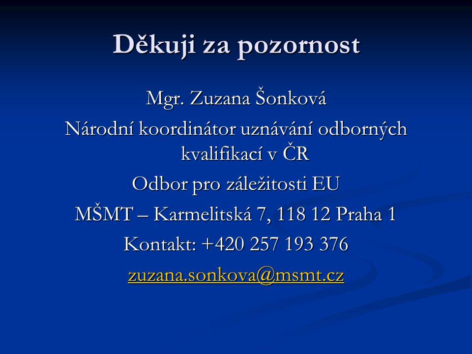 Děkuji za pozornost Mgr. Zuzana Šonková
