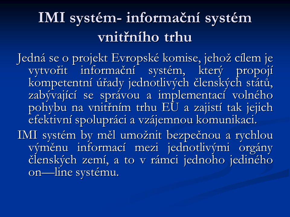 IMI systém- informační systém vnitřního trhu