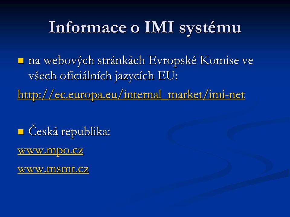 Informace o IMI systému