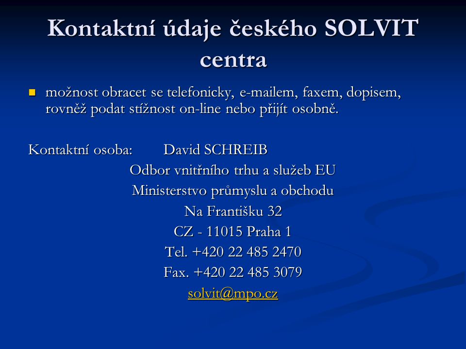 Kontaktní údaje českého SOLVIT centra