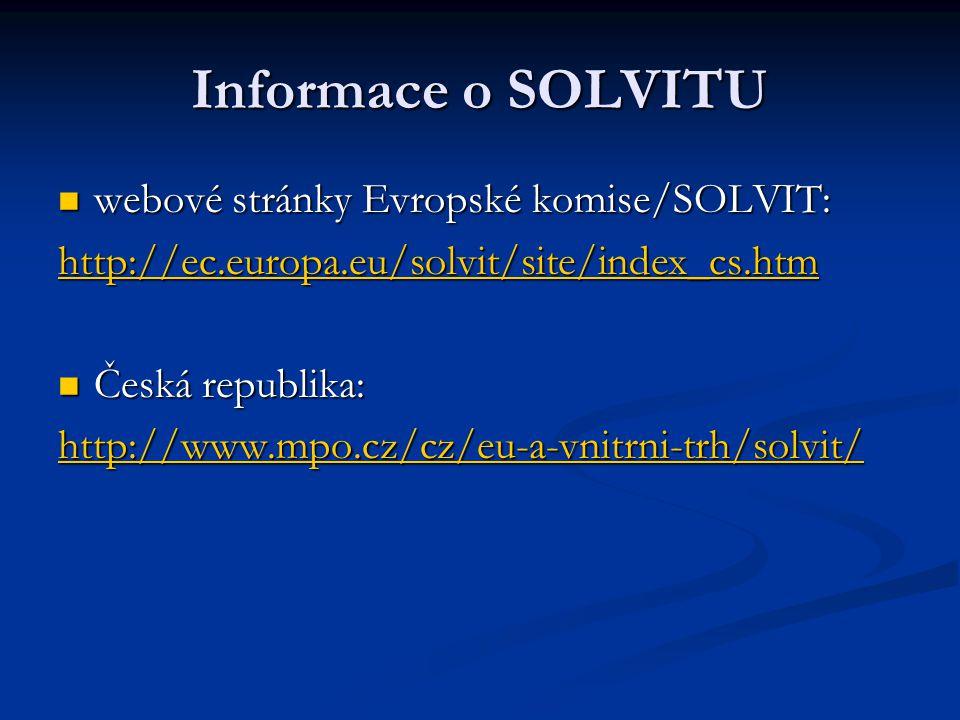 Informace o SOLVITU webové stránky Evropské komise/SOLVIT: