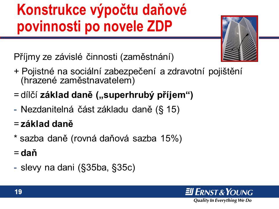 Konstrukce výpočtu daňové povinnosti po novele ZDP