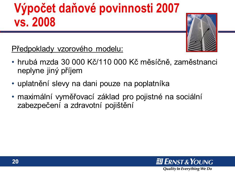 Výpočet daňové povinnosti 2007 vs. 2008