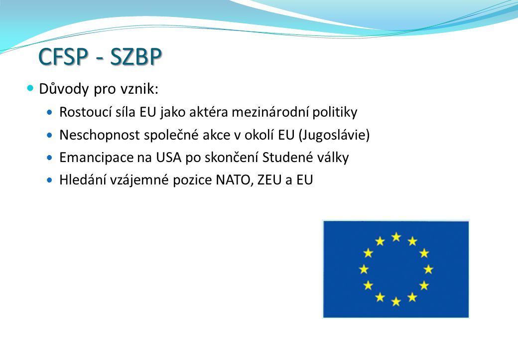 CFSP - SZBP Důvody pro vznik: