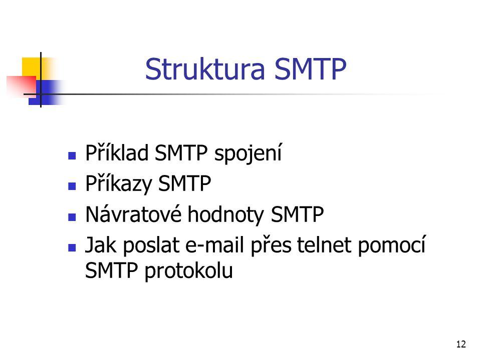 Struktura SMTP Příklad SMTP spojení Příkazy SMTP