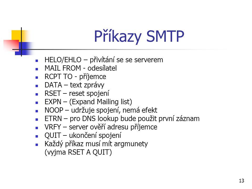 Příkazy SMTP HELO/EHLO – přivítání se se serverem