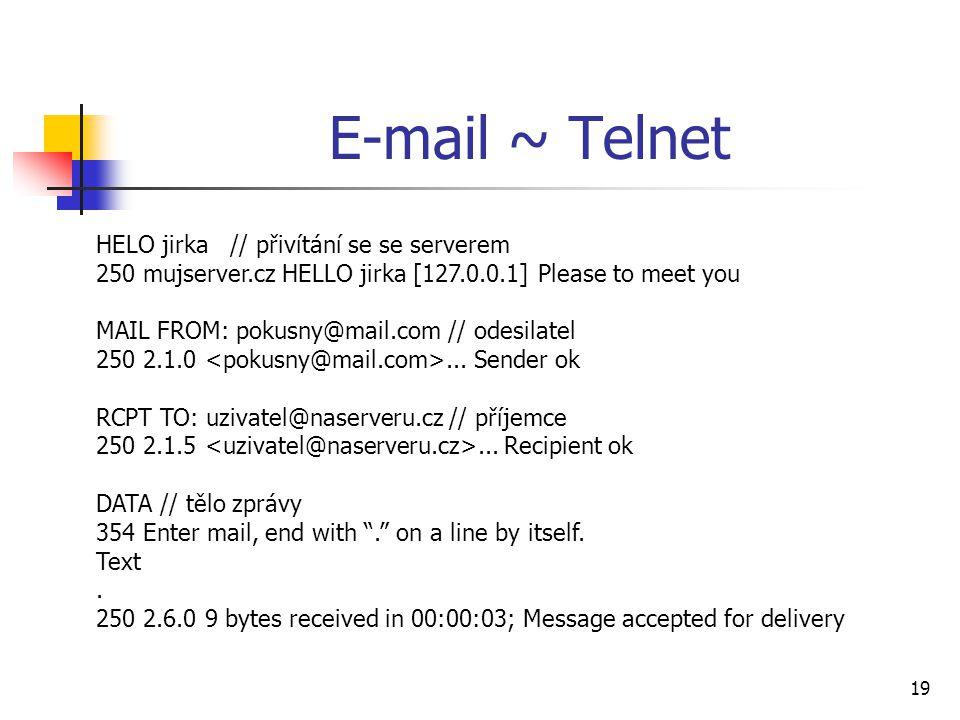 E-mail ~ Telnet HELO jirka // přivítání se se serverem