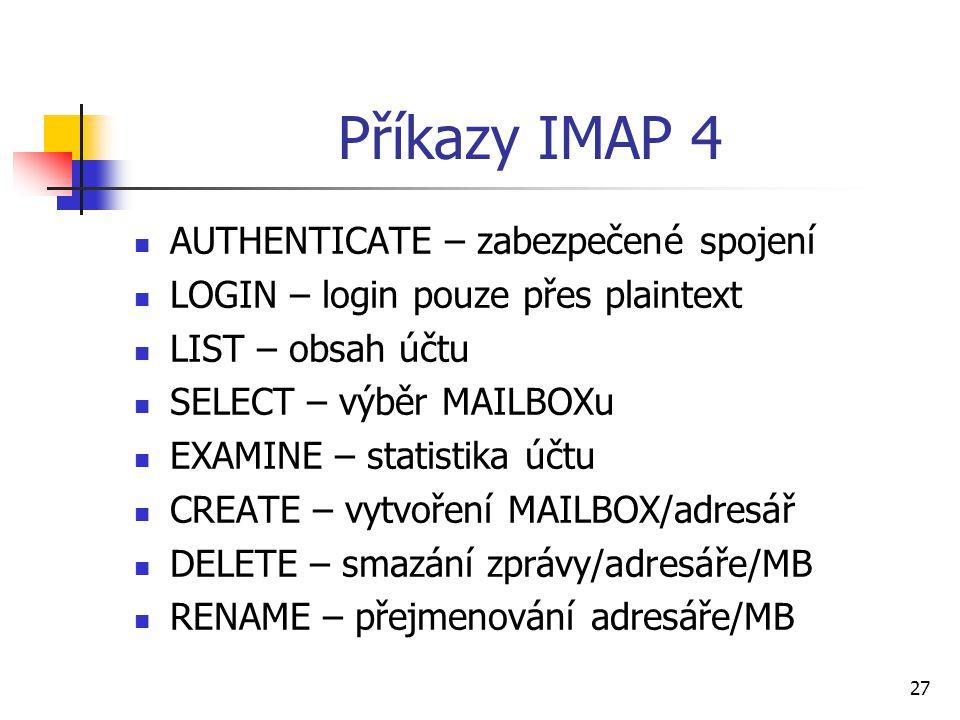 Příkazy IMAP 4 AUTHENTICATE – zabezpečené spojení