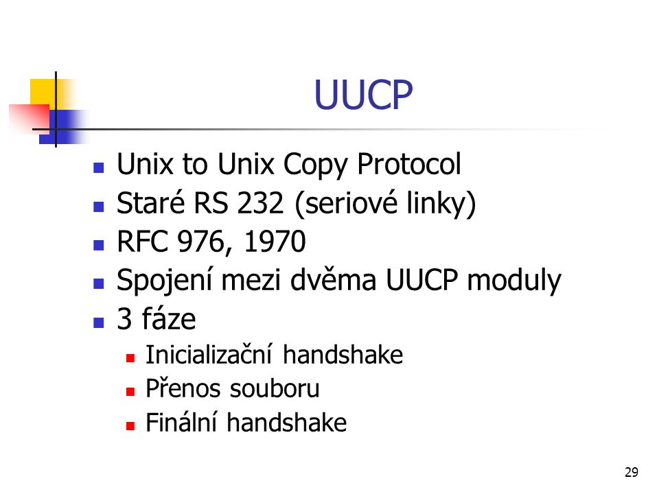 UUCP Unix to Unix Copy Protocol Staré RS 232 (seriové linky)