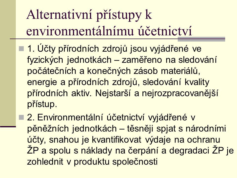 Alternativní přístupy k environmentálnímu účetnictví