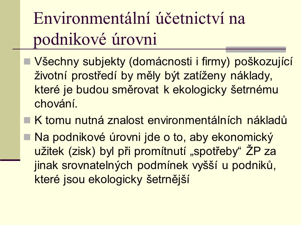 Environmentální účetnictví na podnikové úrovni