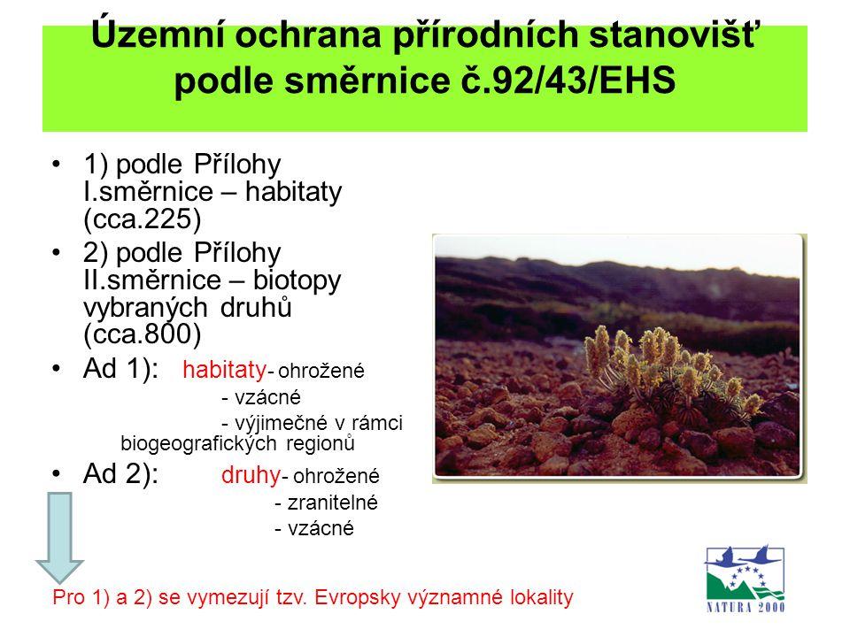 Územní ochrana přírodních stanovišť podle směrnice č.92/43/EHS